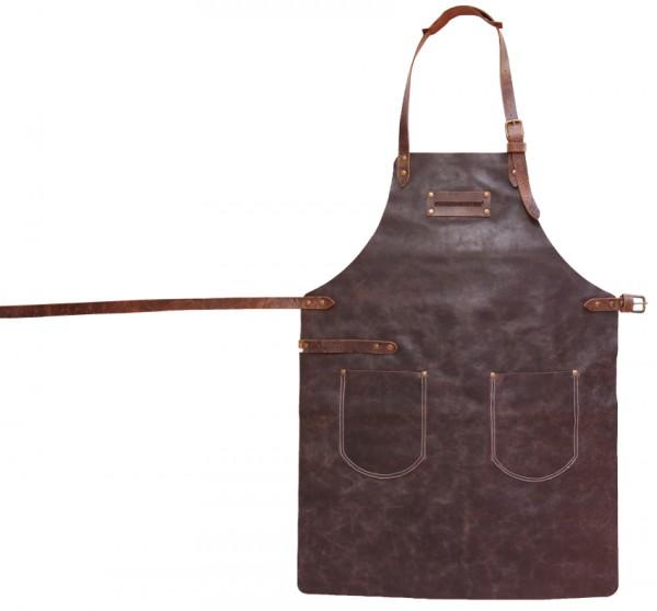 FEUERMEISTER Grillschürze aus Leder mit 2 Taschen, Größe L